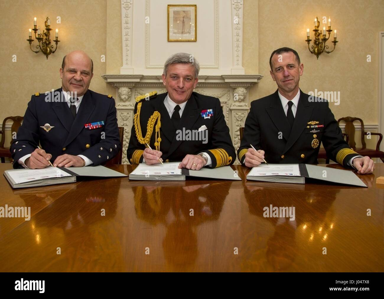 French Marine Nationale Chief of Navy Christophe Prazuck (left), Royal Navy First Sea Lord and Chief of Naval Staff - Stock Image