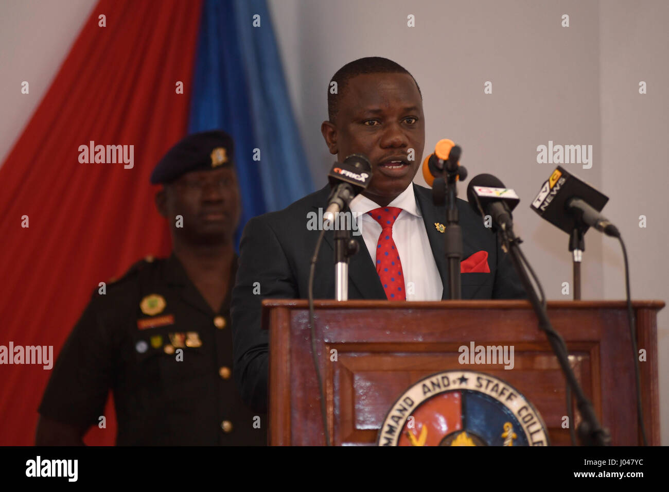 Ghanaian Minister for Defense Dominic Nitiwul speaks during the exercise Obangame Express opening ceremony at the - Stock Image