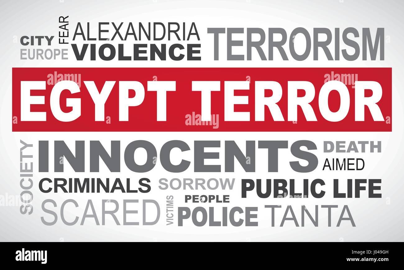 Egypt terror attack - word cloud illustration english Stock Vector