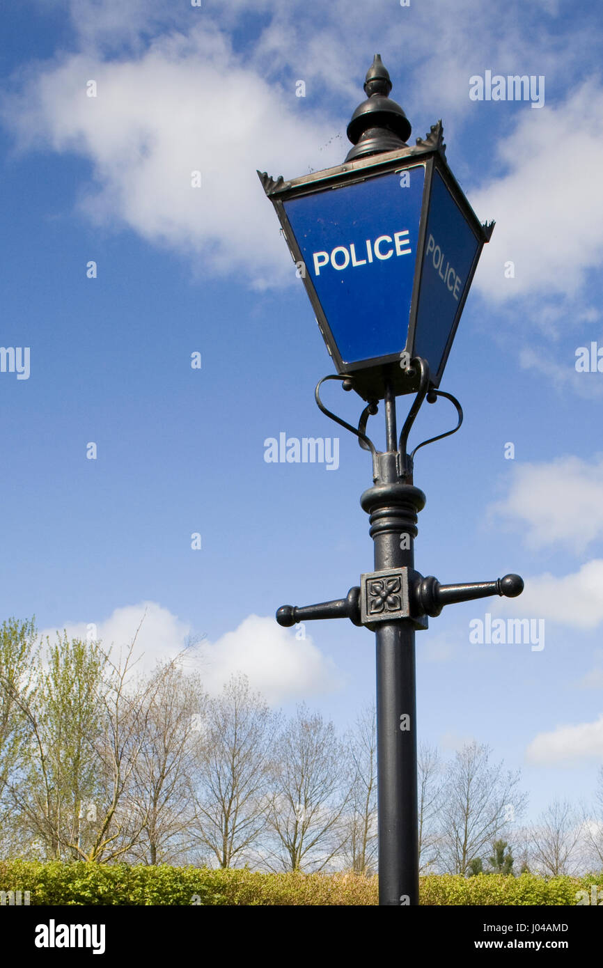 Vintage Police Station Sign, Blue Lamp Stock Photo