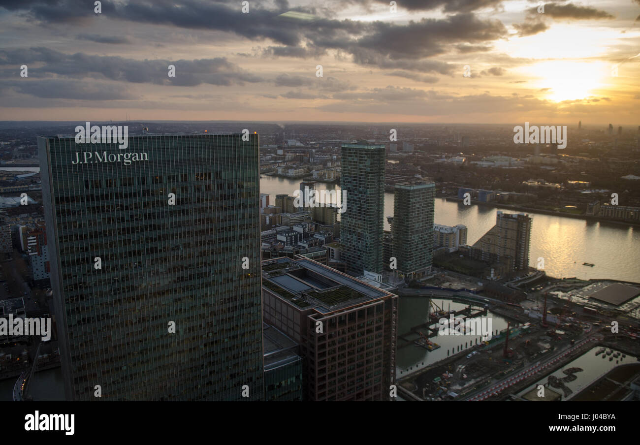 London, England - 27 February 2015: The headquarters of JPMorgan Europe, a branch of JP Morgan Chase Co., at 25 Stock Photo