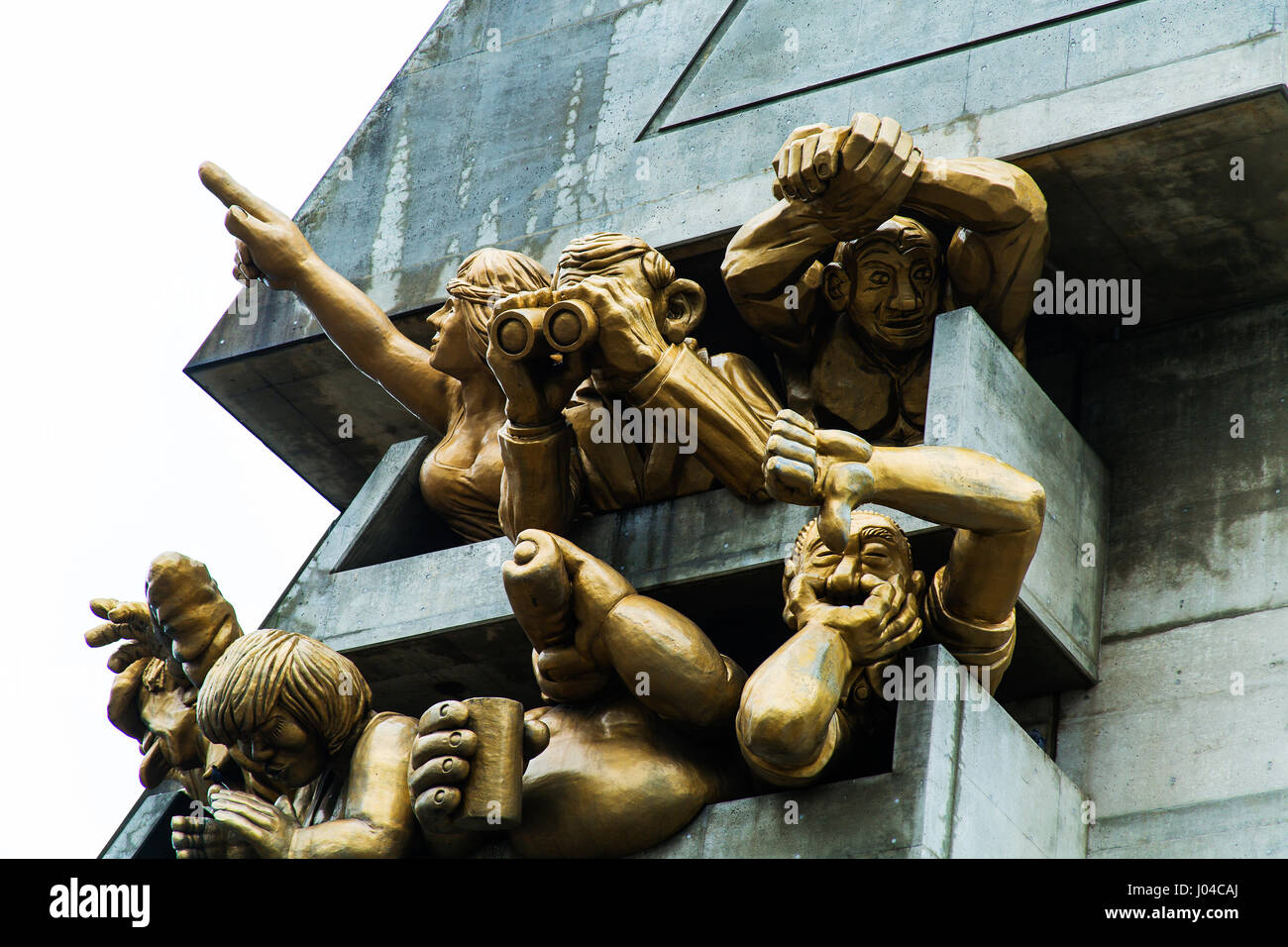 The Audience by Michael Snow. Baseball fan gargoyles at the Rogers Centre (formerly The Skydome) in Toronto, Ontario - Stock Image
