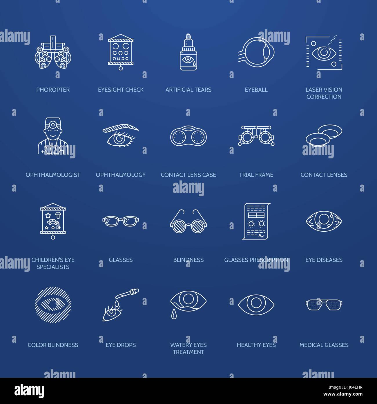 Ophthalmology, eyes health care line icons. Optometry equipment, contact lenses, glasses, blindness. Vision correction - Stock Image