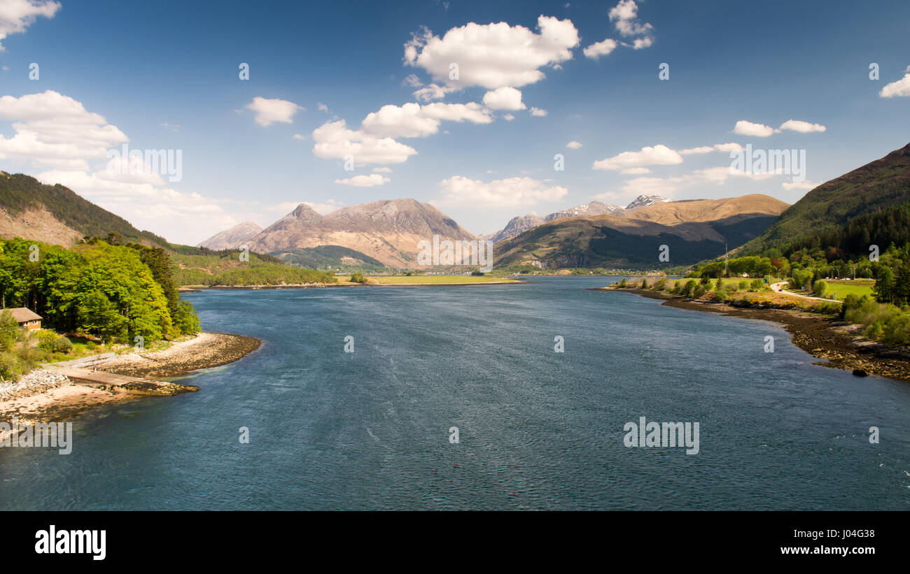 Looking down Loch Leven sea inlet from the Ballachulish Bridge in the West Highlands of Scotland. - Stock Image