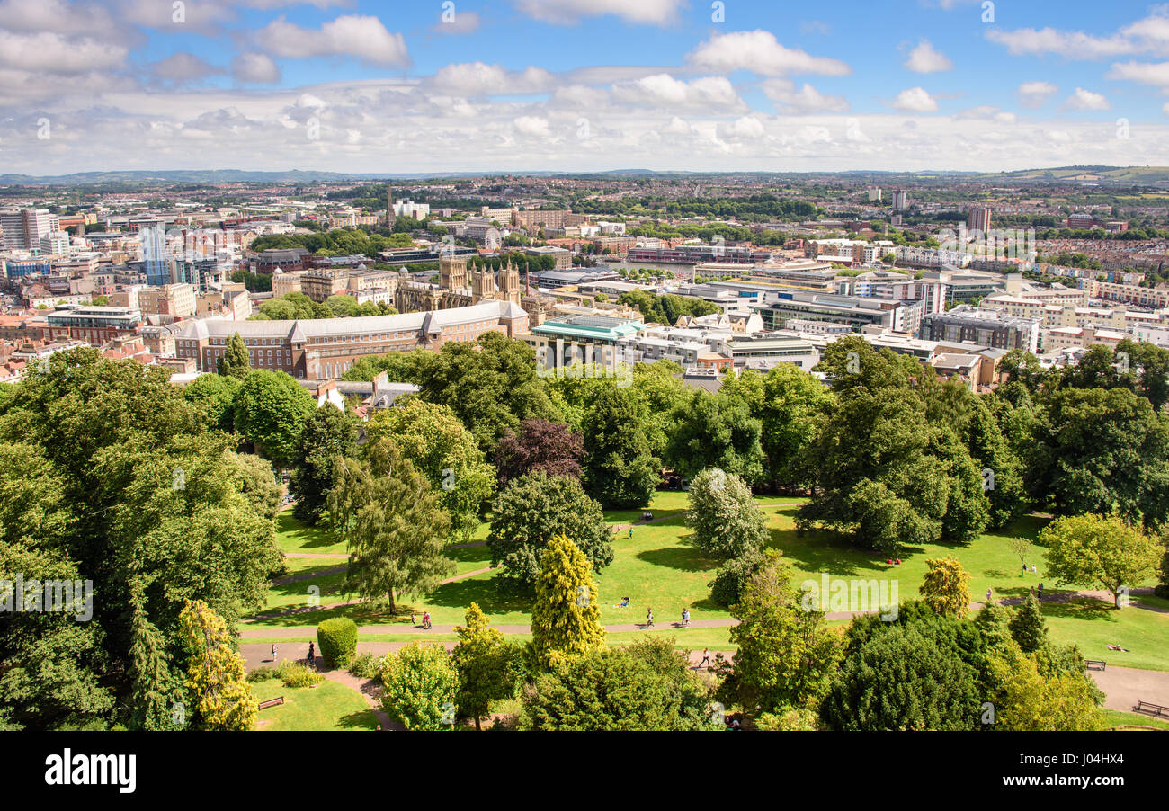 Bristol, England - July 17, 2016: Summer sun shines on Brandon Hill park in the centre of Bristol, with City Hall - Stock Image