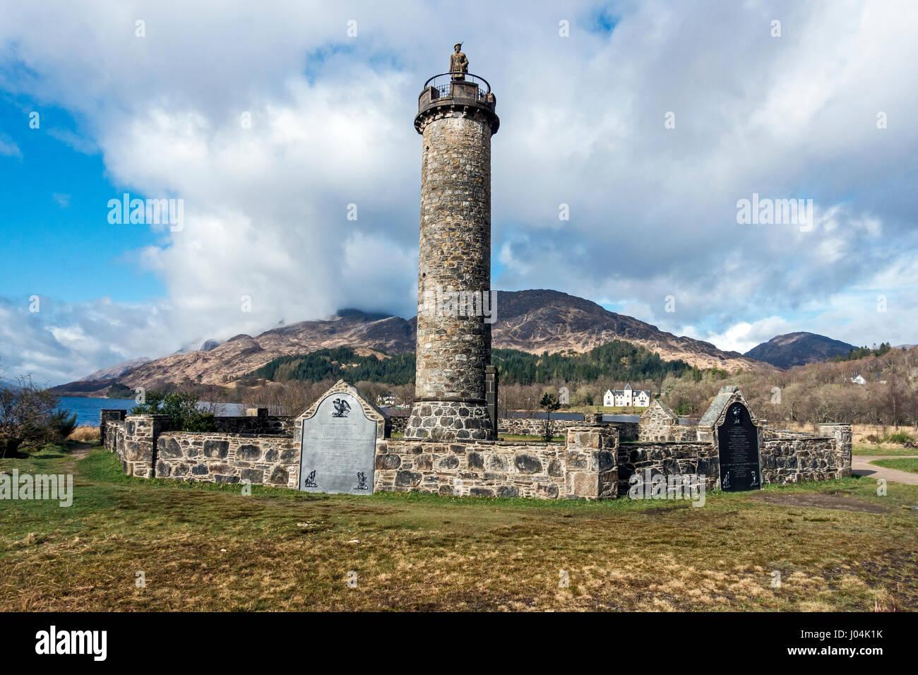 Refurbished Prince Charles Edward Monument at Glenfinnan Highland Scotland - Stock Image
