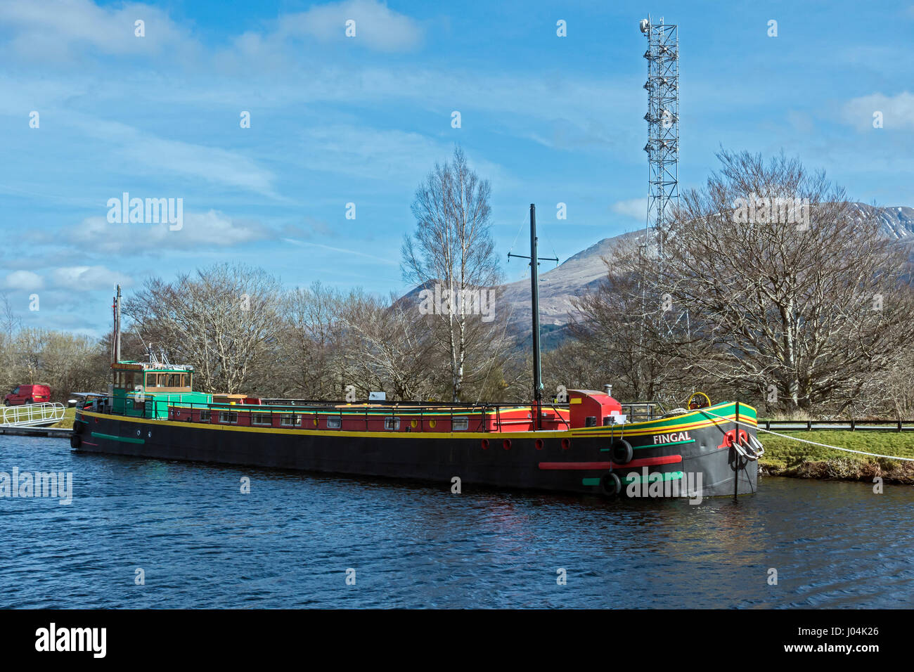 Barge Fingal moored in the Union Canal basin at Banavie near Fort William in Highland Scotland UK Stock Photo