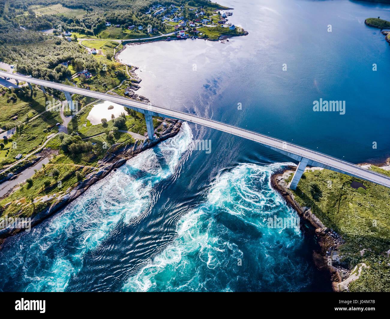 Whirlpools of the maelstrom of Saltstraumen, Nordland, Norway aerial ...