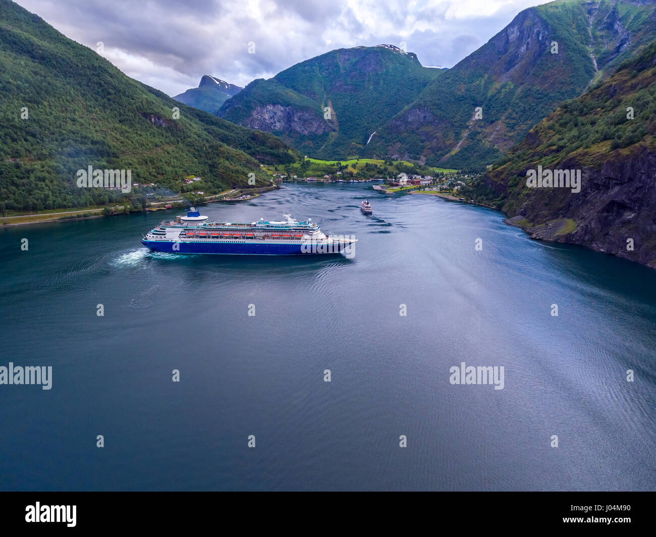 Cruise Ship, Cruise Liners On Sognefjord or Sognefjorden, Aerial photography Flam Norway Stock Photo