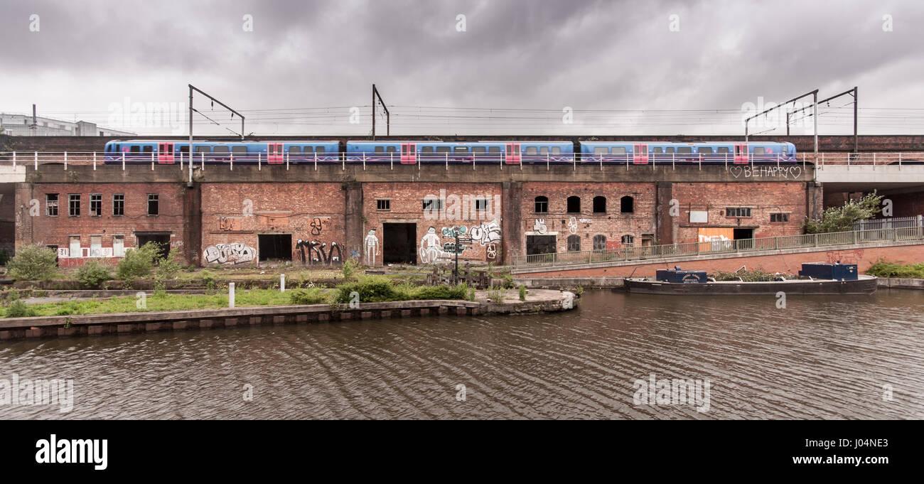 Manchester, England, UK - June 16, 2012: A First TransPennine Express Class 185 diesel passenger train runs across - Stock Image