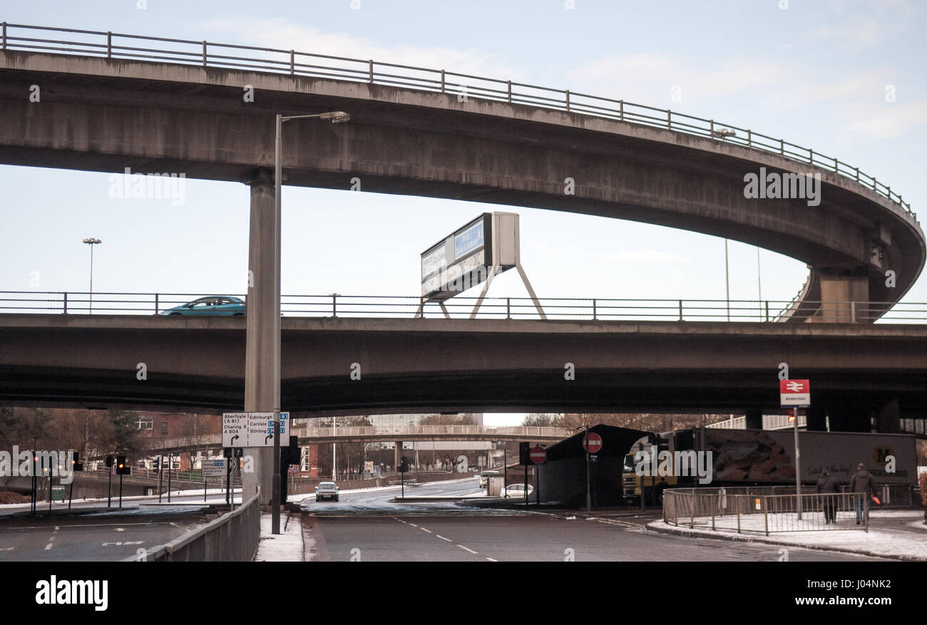 Glasgow, Scotland, UK - January 9, 2011: Concrete flyovers at the intersection of the M8 motorway and the Clydeside - Stock Image