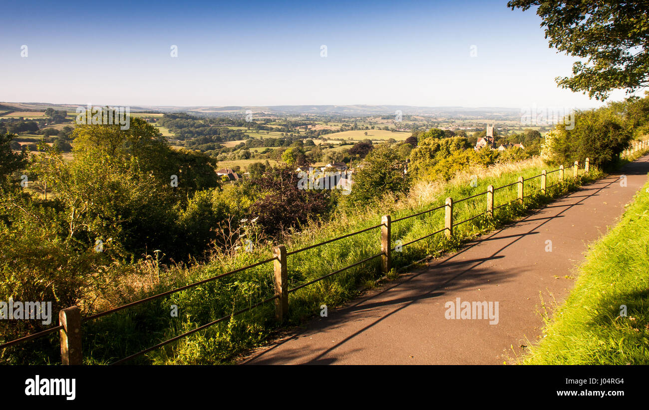 The view over the agricultural valley of the Blackmore Vale from the hilltop Park Walk in Shaftesbury, Dorset. - Stock Image