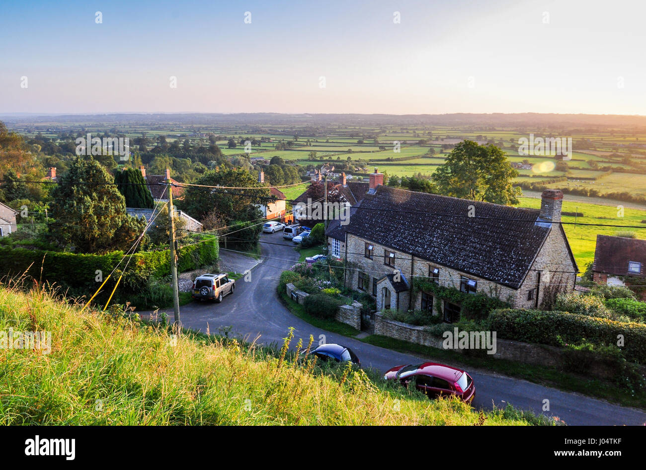 Tradditional English stone collages in the South Somerset village of Cucklington, set amongst rolling hills and - Stock Image