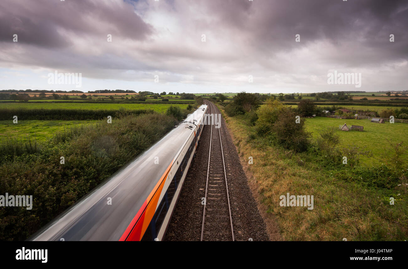 Templecombe, England, UK - September 18, 2012: A South West Trains Class 159 diesel passenger train on the West - Stock Image