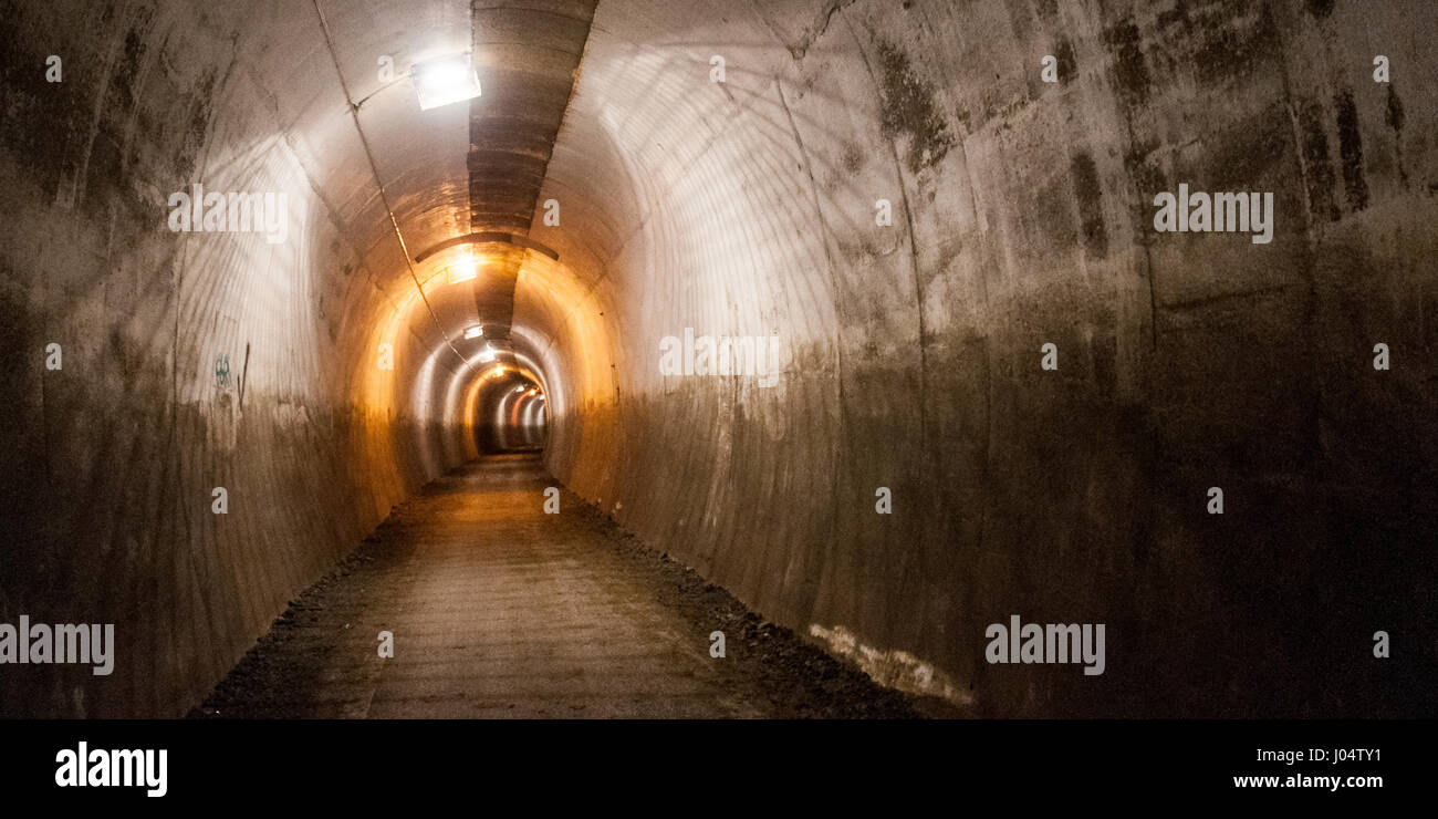 A 'rail trail' cycleway and footpath, the TransPennine Trail, runs through a disused tunnel on an old railway - Stock Image