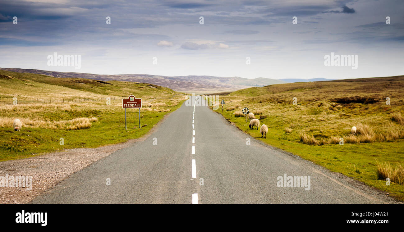 Teesdale, England - May 25, 2011: A sign welcoming travellers to the Teesdale district of County Durham on remote - Stock Image