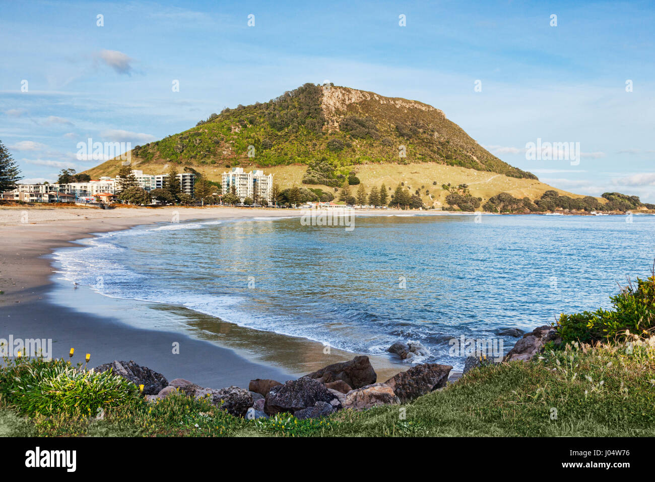 Mount Maunganui, Bay of Plenty, New Zealand. Focus on foreground. - Stock Image