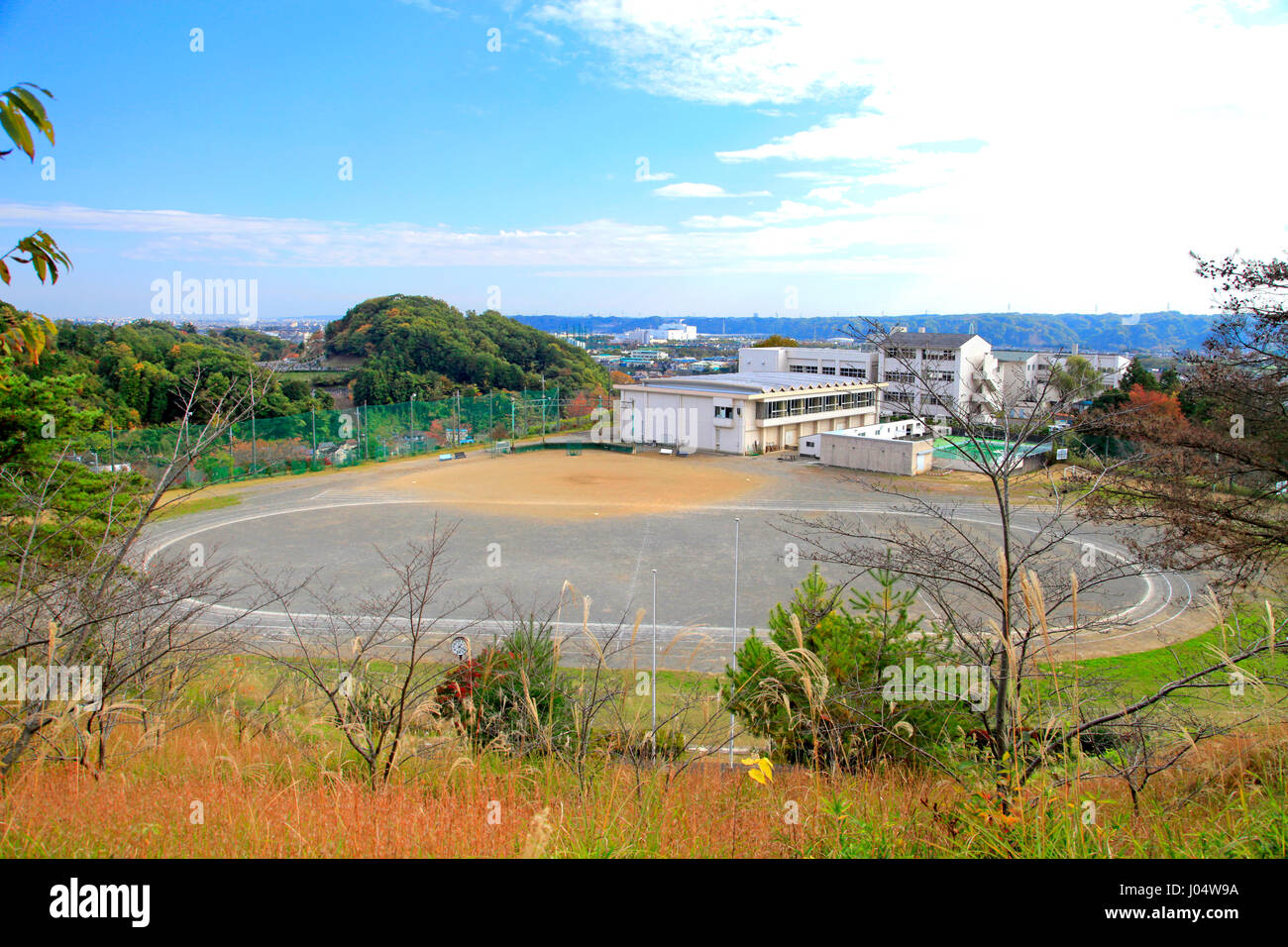 Hirai Junior High School Where the US President Ronald Reagan's Helicopter Landed for a Meeting with the Prime - Stock Image