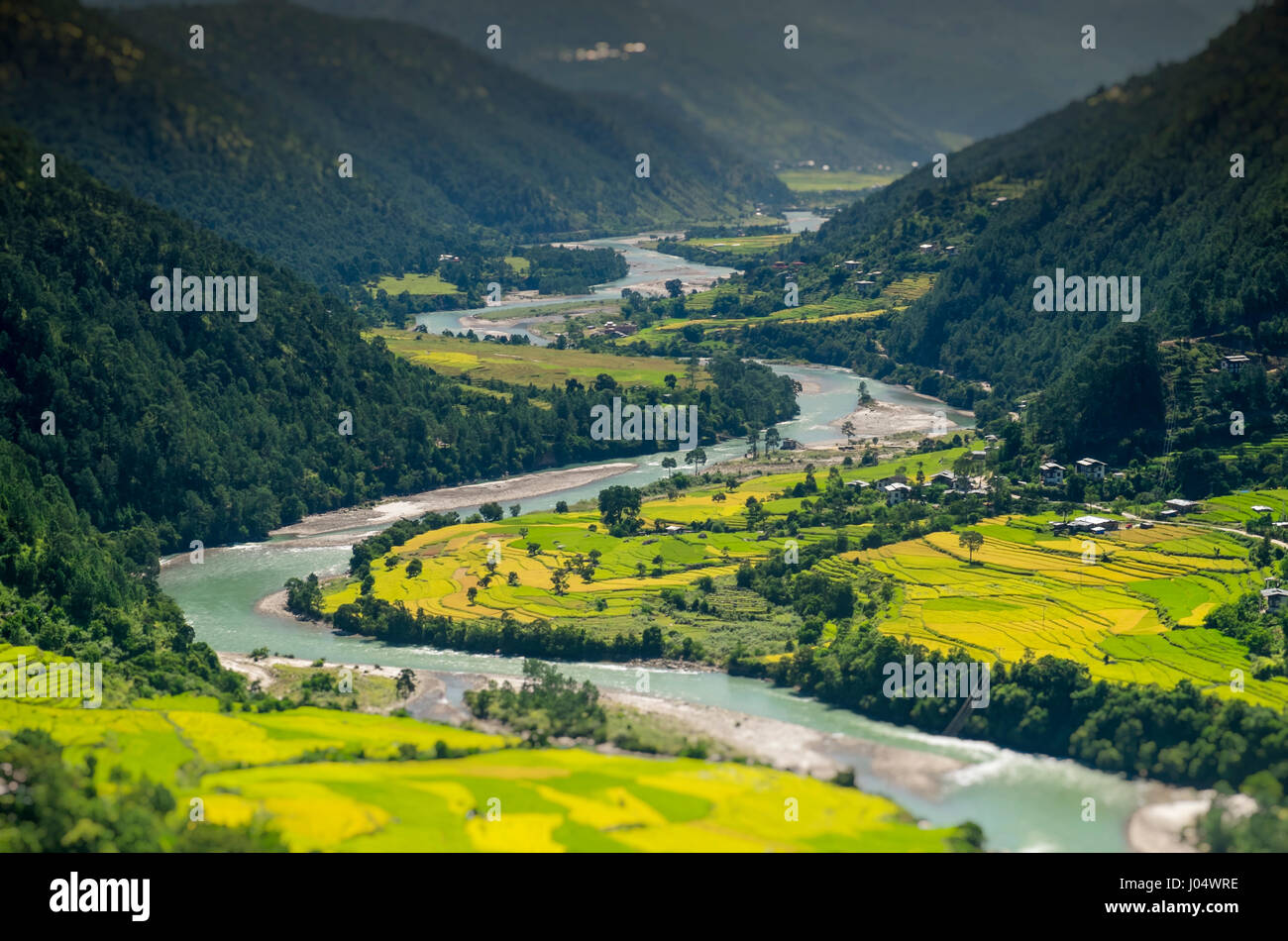 PUNAKHA, BHUTAN - CIRCA October 2014: View of mountain range and valley in Punakha, Bhutan - Stock Image