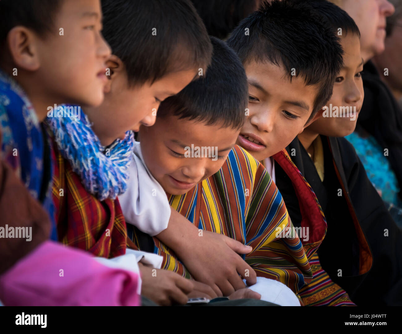 THIMPU, BHUTAN - CIRCA OCTOBER 2014: Portrait of Bhutanese kids playing. - Stock Image