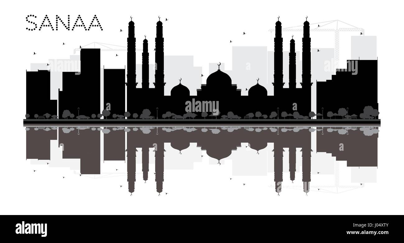 Sanaa City skyline black and white silhouette with reflections. Vector illustration. Simple flat concept for tourism - Stock Vector
