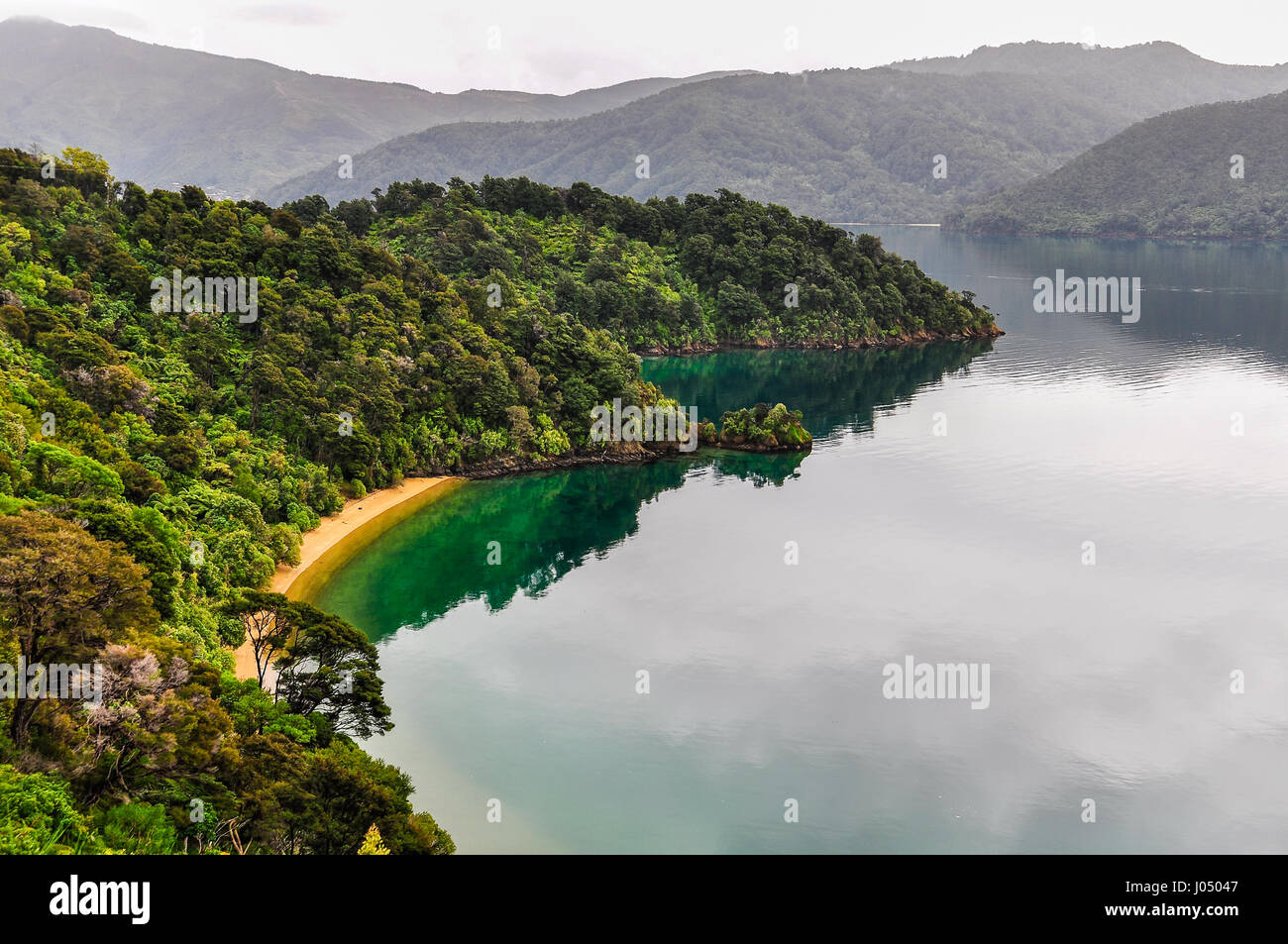 View of bays around the sounds near Queen Charlotte Road, New Zealand - Stock Image