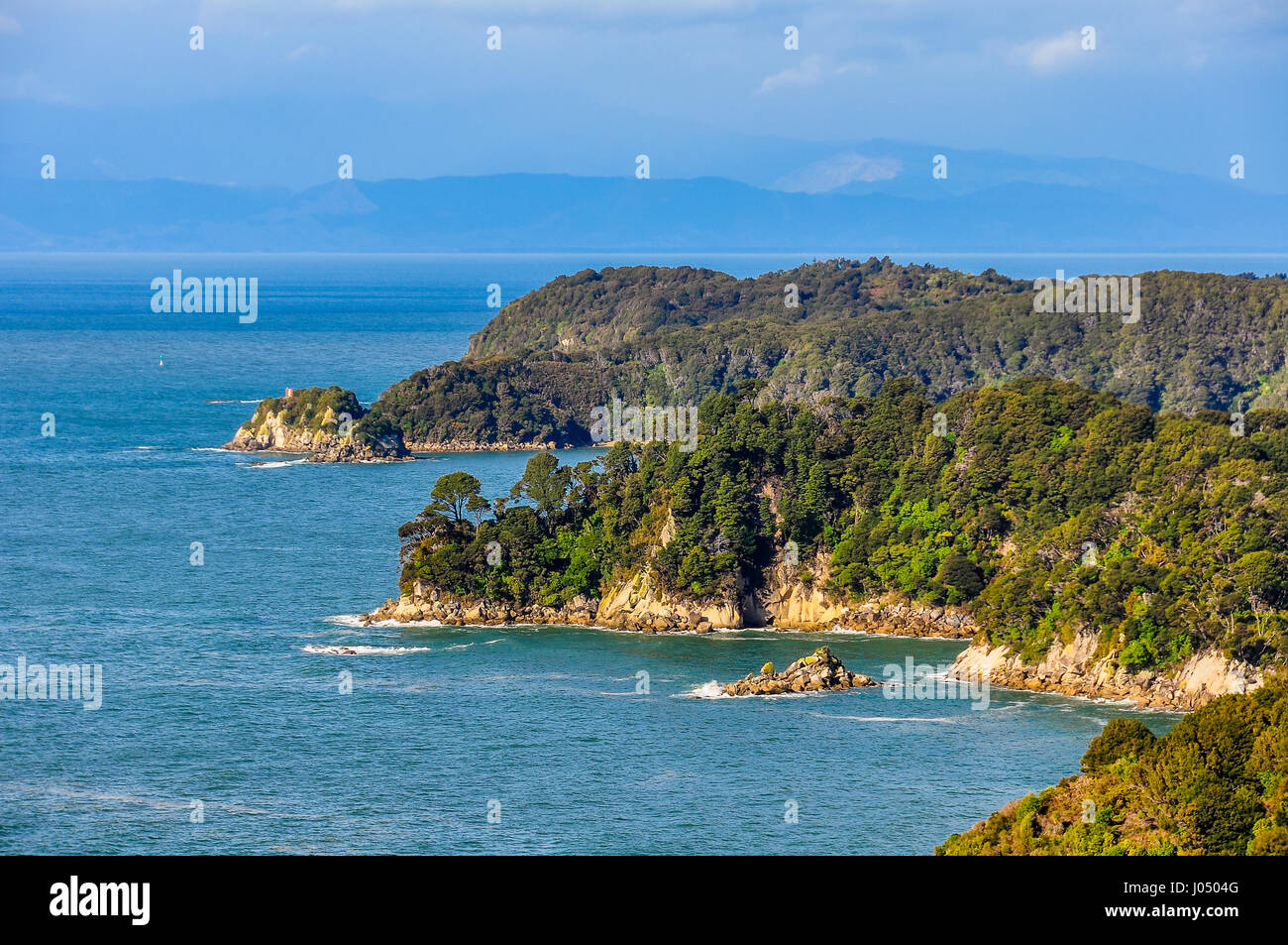 View of the coastline in the Abel Tasman National Park in New Zealand - Stock Image