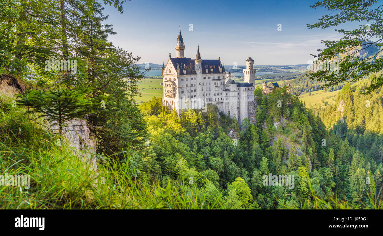 Neuschwanstein Castle, the 19th century Romanesque Revival palace built for King Ludwig II, in beautiful evening Stock Photo