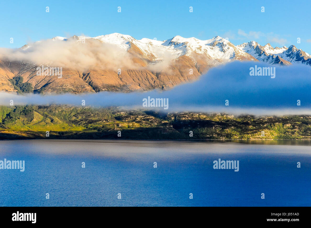 Clouds over the lake in Lord of the Rings film location, Glenorchy, New Zealand - Stock Image