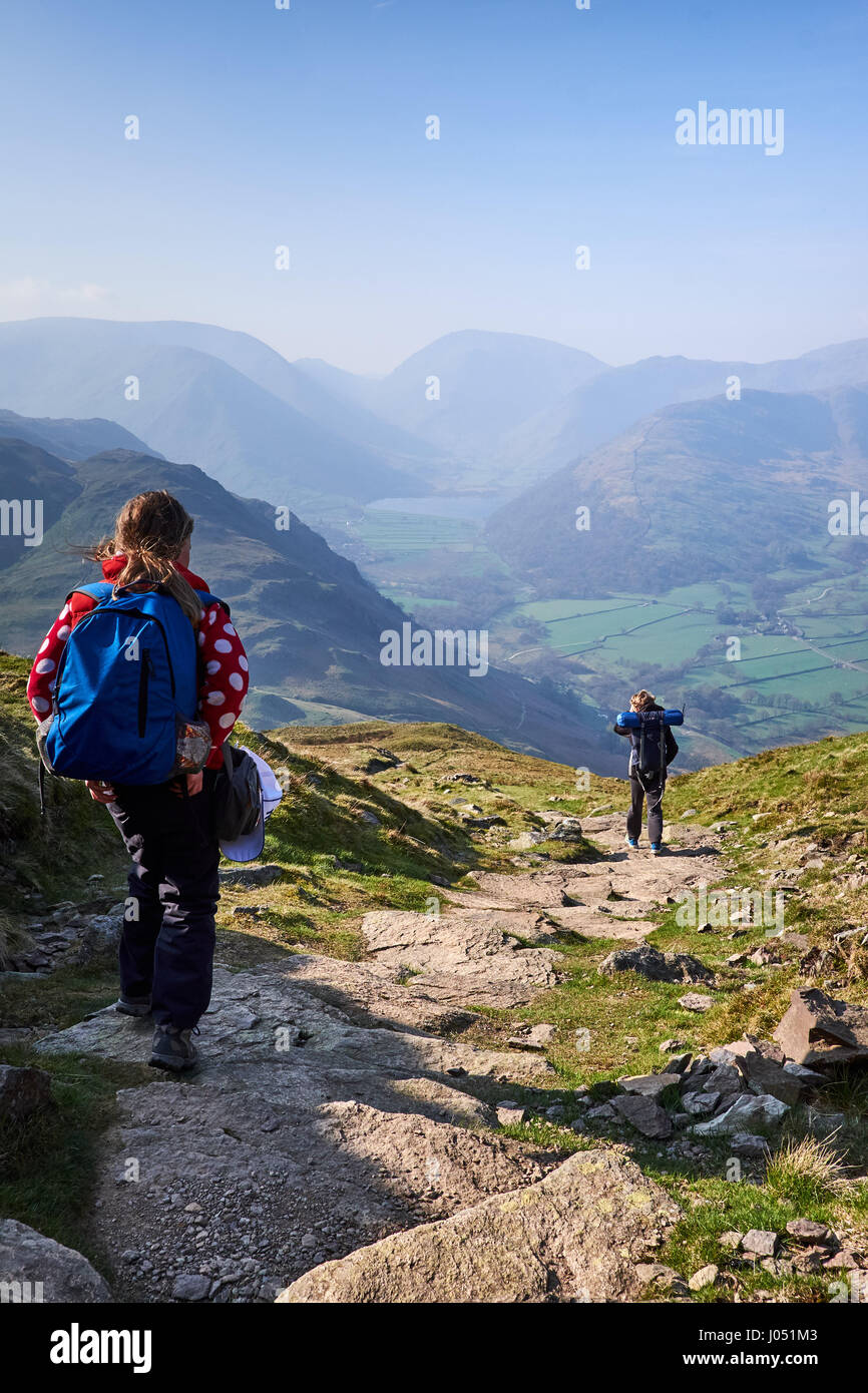 Descending Place fell above Ullswater in the Lake District, Cumbria. UK. - Stock Image