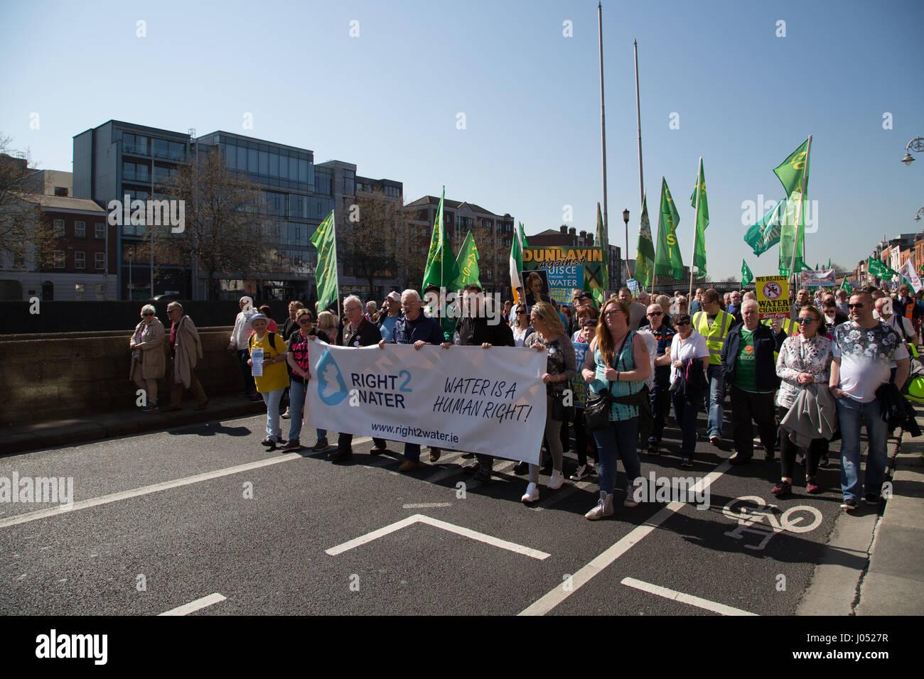 Anti-austerity protestors march through Dublin city, Ireland. - Stock Image