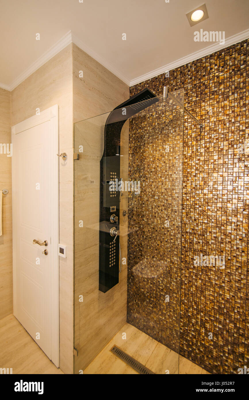 Shower head in the bathroom. Plumbing. Interier hotel Stock Photo ...