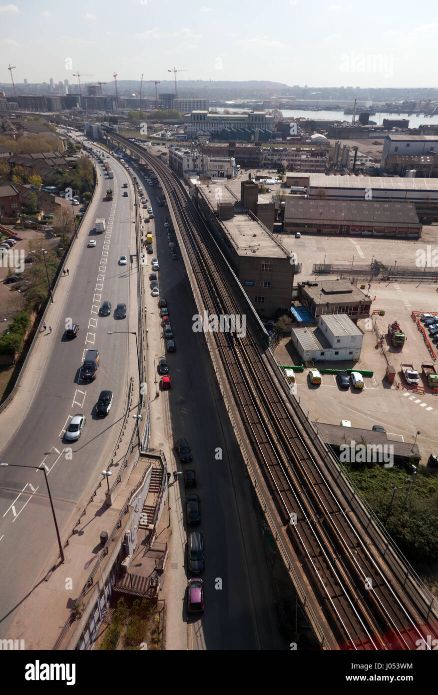 Aerial view of the Docklands Light Railway track, looking towards West Silvertown Station - Stock Image