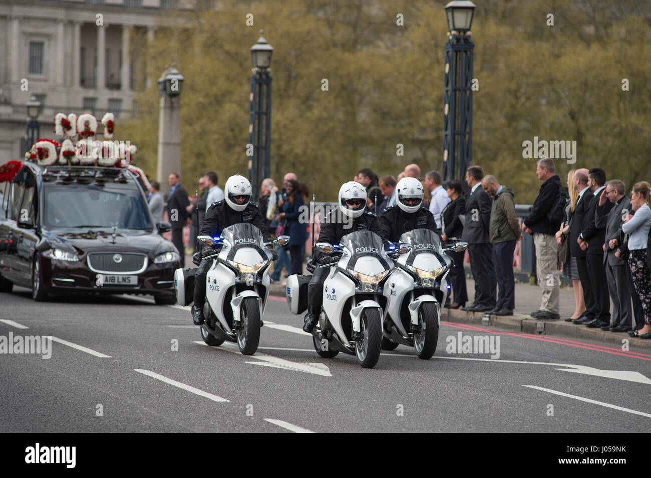 Lambeth Bridge, London, UK. 10th April 2017. The full force funeral of PC Keith Palmer, killed in the Westminster Stock Photo