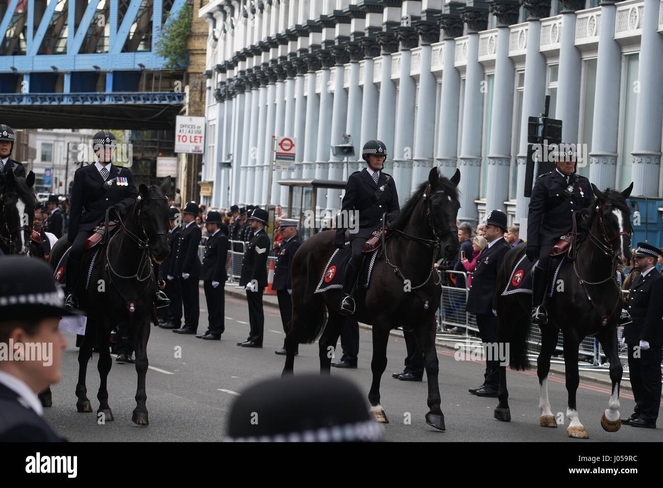 London, England, UK. 10th Apr, 2017. Stand for Keith cortege procession for funeral of PC Keith Palmer at Southwark - Stock Image