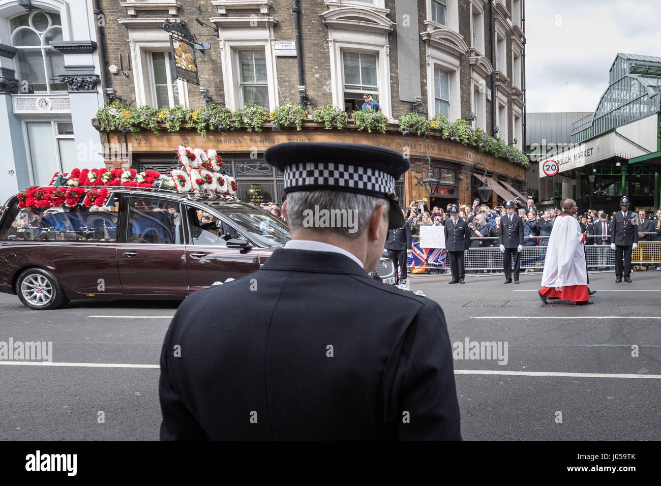 London, UK. 10th Apr, 2017. Funeral day of PC Keith Palmer who was killed in Westminster on 22nd March. Credit: Stock Photo