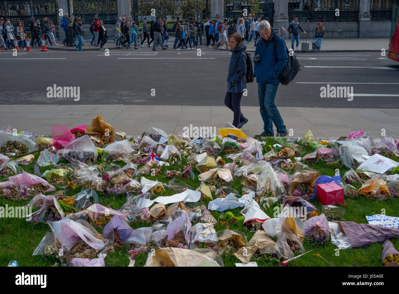 Parliament Square, London, UK. 10th April 2017. The full force funeral of PC Keith Palmer, killed in the Westminster - Stock Image