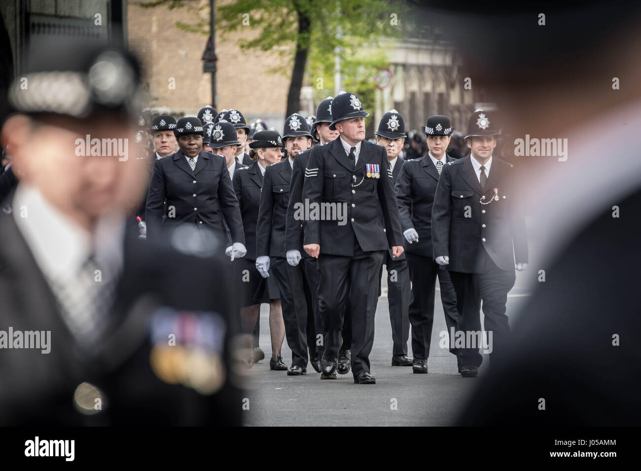 London, UK. 10th Apr, 2017. Funeral day of PC Keith Palmer who was killed in Westminster on 22nd March. Credit: - Stock Image