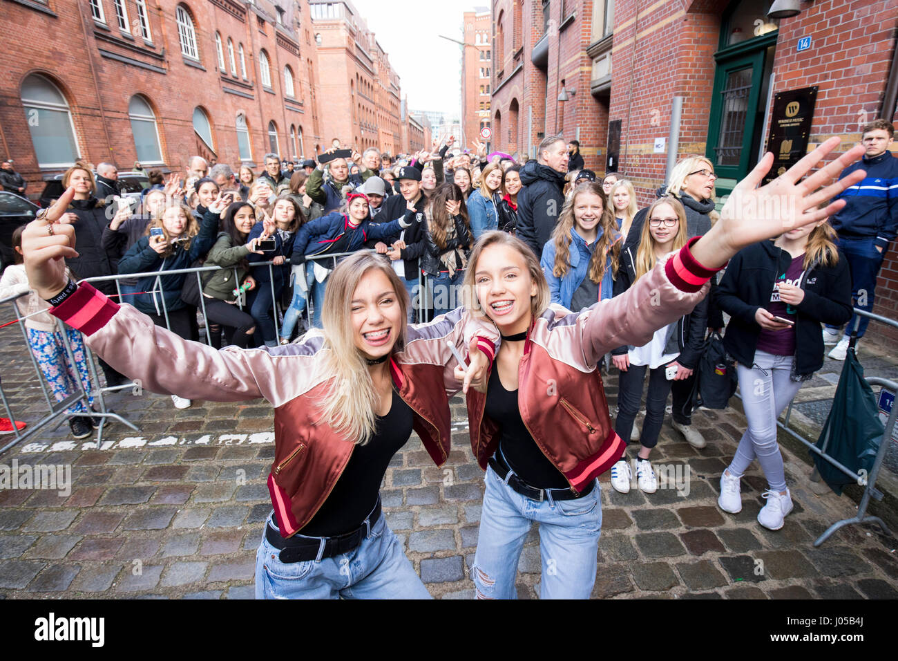 The musical and social media stars lena l and lisa stock the musical and social media stars lena l and lisa photographed during their first own fan meet and greet in hamburg germany 10 april 2017 m4hsunfo