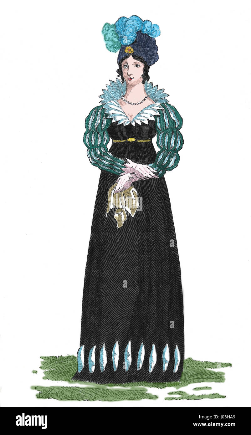 Fashion, 1813. Europe. Engraving, Nuestro Siglo, 1883. Spanish edition. Color. - Stock Image