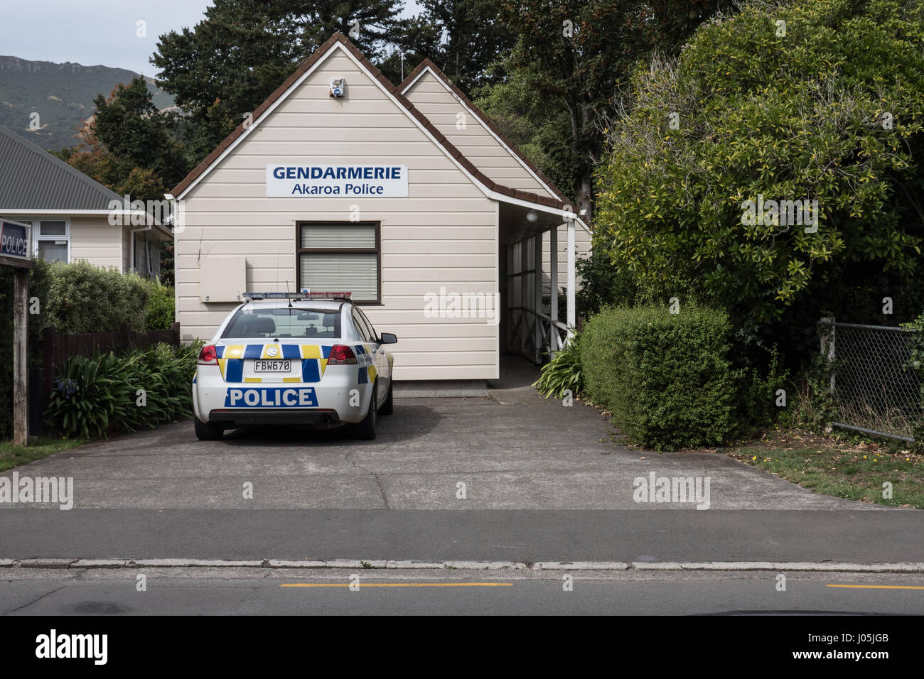 Akaroa Police Station or Gendarmerie (due to French influence), South Island, New Zealand. - Stock Image
