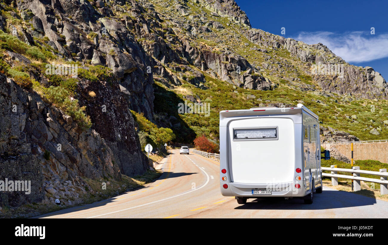 Motor home parking on a mountain road with spectacular views - Stock Image