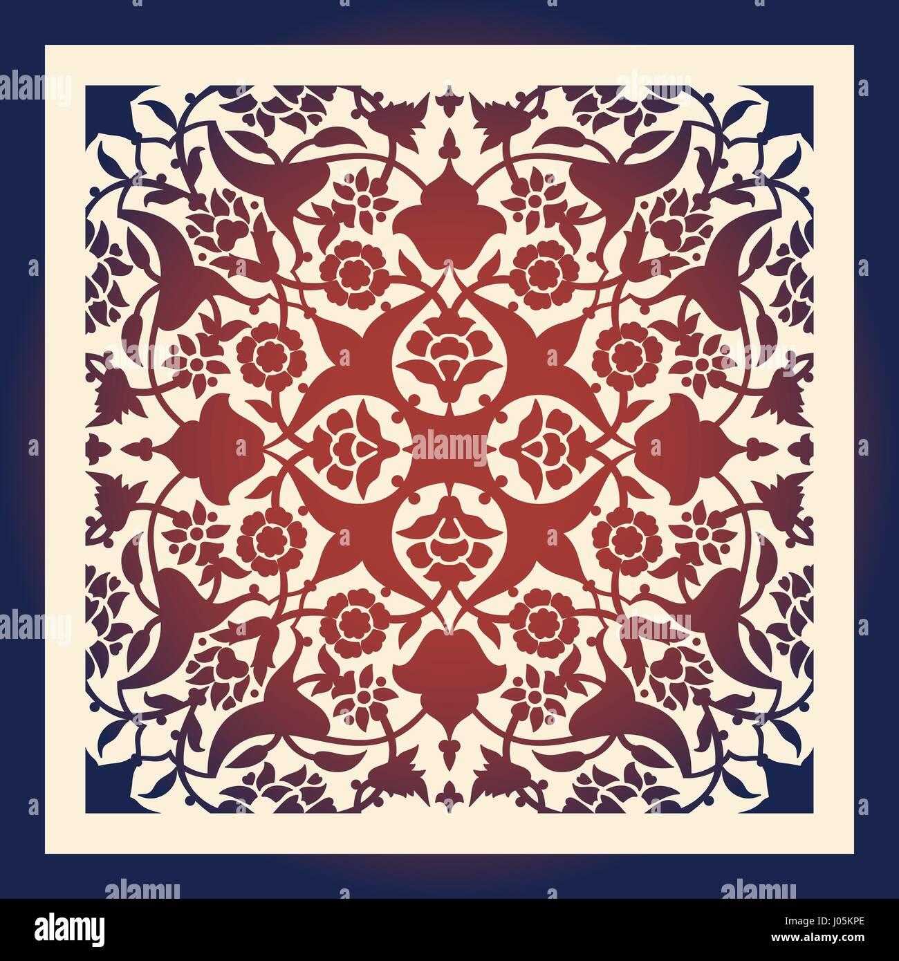 Laser cut floral arabesque ornament pattern vector. Template cutting ...