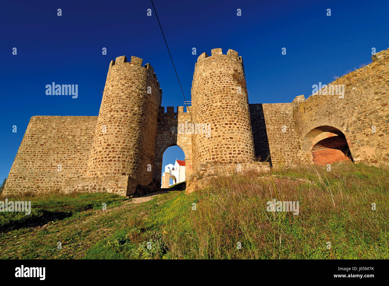 Portugal: Entrance and towers of medieval castle of Evoramonte Stock Photo