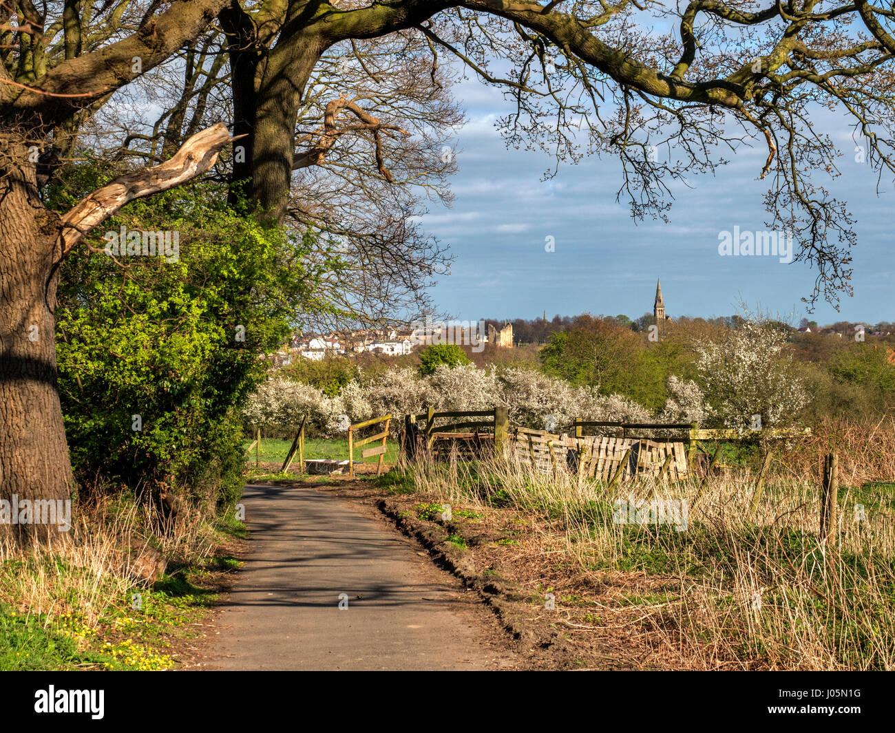 View of Knaresborough from the Beryl Burton Cycleway near Knaresborough North Yorkshire England - Stock Image