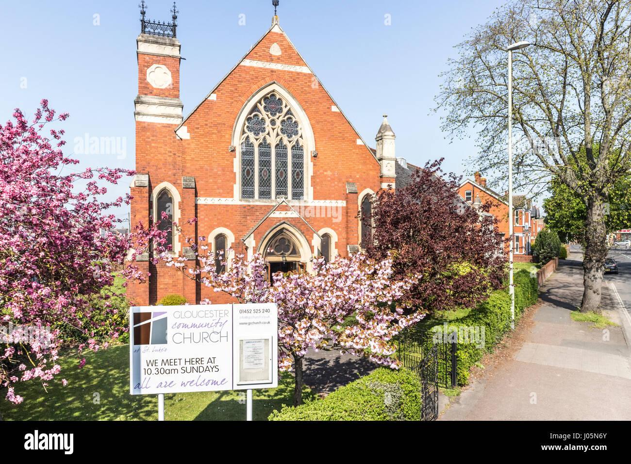 Gloucester Community Churh in springtime, Gloucester UK - Stock Image