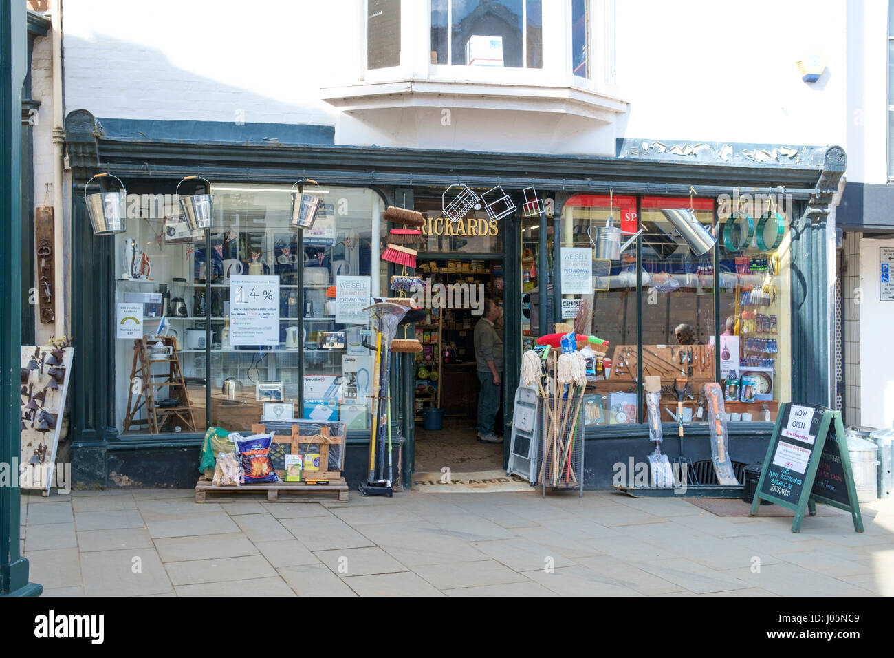 The Shrpshire town Ludlow, one of the pretiest in England UK Rickards Hardware shop - Stock Image
