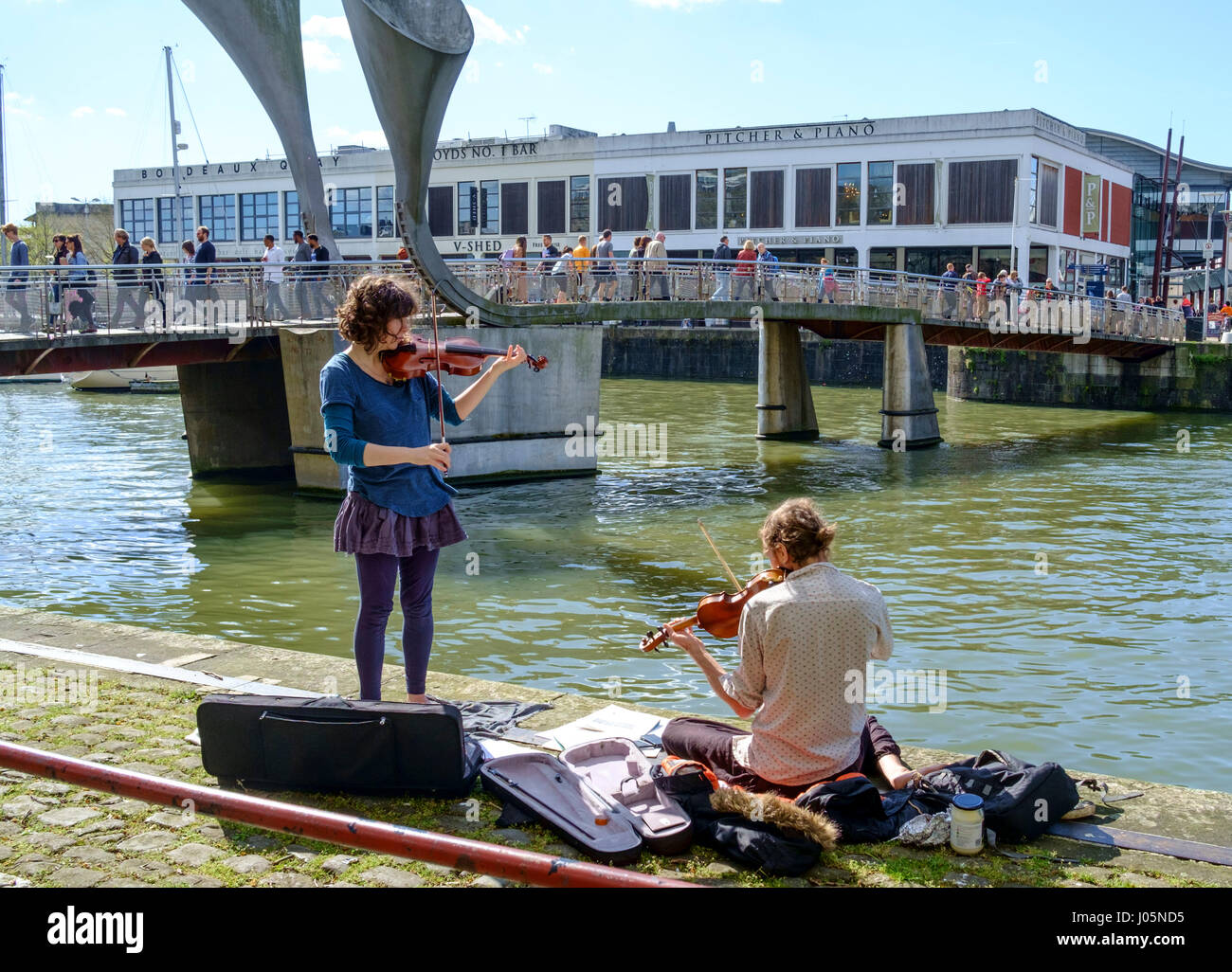 Around the City of Bristol England UK street entertainers - Stock Image