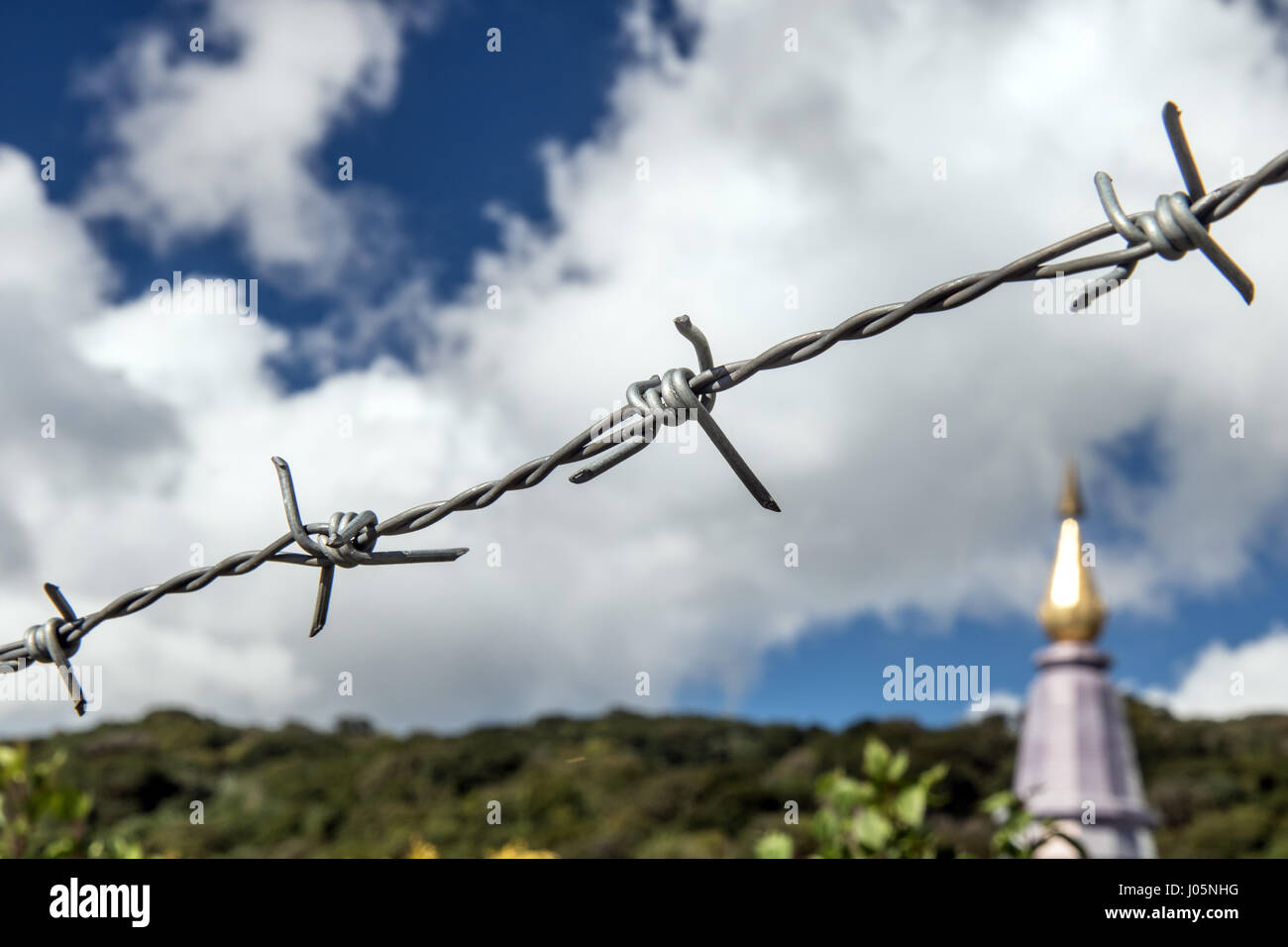 Detail of a fence to protect the Buddhist monastery on the mountain Doi Inthanon.The barbed wire close up. Drawn - Stock Image