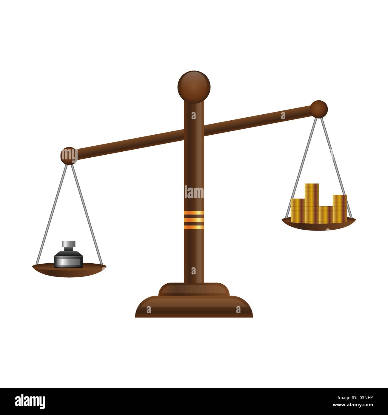 Justice Scales Icon Law Balance Symbol Libra Flat Design With Gold